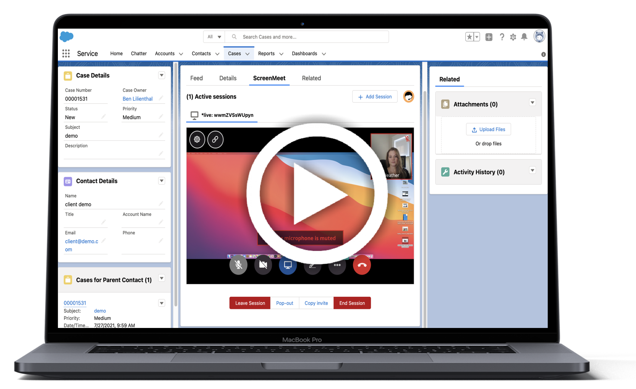 Screenmeet Live for Salesforce – Add Voice, Video and Screen Share to any Web Site w/Salesforce Chat (Live Agent)