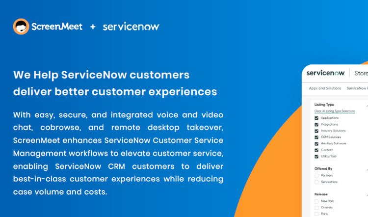 ScreenMeet for Improved ServiceNow Customer Workflows